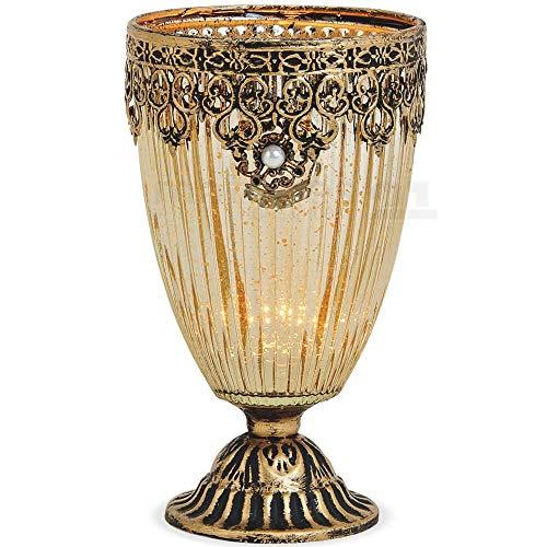 matches21 Windlicht Kerzenglas Glas Teelichtglas Kelch Orientalisch Marokko Design Gold antik Metalldekor 1 STK Ø 10x18 cm