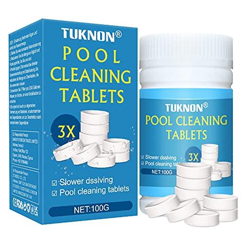 TUKNON Chlorine Tablets for Hot Tubs, Chlorine Tablets, Spa Chlorine Tablets, Multifunction Chlorine Tablets, Chlorine Tablets for Swimming Pool, Pool Cleaning Tablets, Pool Chlorine Tablets, 100 Pcs