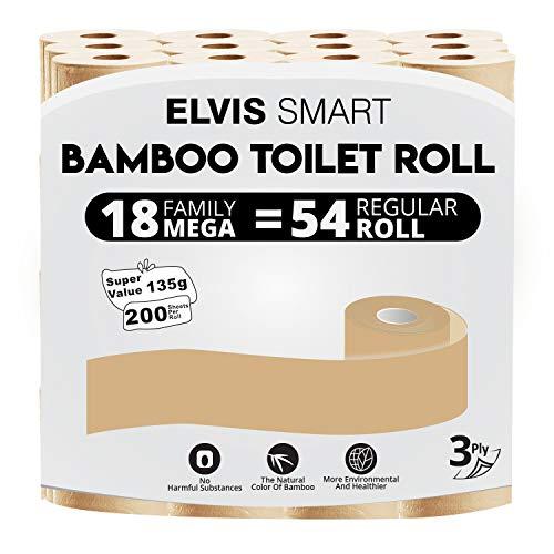 Elvissmart Ultra Soft Bamboo Toilet Paper, 18 Family Mega= 54 Regular Rolls, 200 Sheets/Roll-3600 Total Bath Tissue