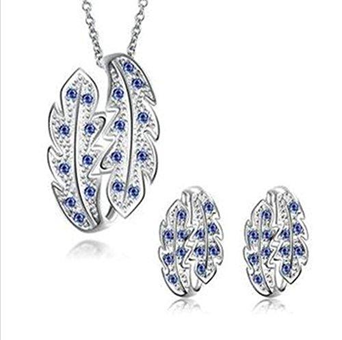 Aeici Silber Schmucksets Design Plant Intarsien Cz Halskette Ohrringe 2St