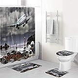 LONSANT Duschvorhang Set,Schwarzweiss-Flugzeug-Berggipfel,Rutschfesten Teppichen Toilettendeckel & Badematte Wasserdichter Duschvorhang für mit 12 Haken