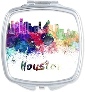 Houston America City Watercolor Mirror Portable Compact Pocket Makeup Double Sided Glass