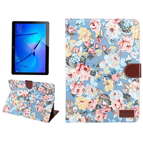 Funda Protectora para Tablet Huawei MediaPad M3 Lite de 10 Pulgadas Patrón de Flores Superficie de Tela PC Funda de Cuero con Tapa Horizontal Flip con Soporte y Ranuras for Tarjetas & Cartera y Marco