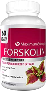 Maximum Strength Forskolin with 20% Standardized for Weight Loss - Max Strength Forskolin Extract with Advanced Fat Burn Formula 60 Capsules (1 Bottle)