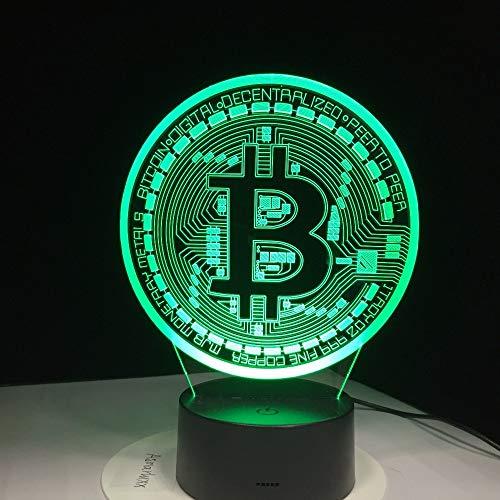 orangeww 3d nachtlicht touch tisch schreibtischlampen / 7 farben lichter/acryl flach & abs basis & usb ladegerät/bitcoin zeichen