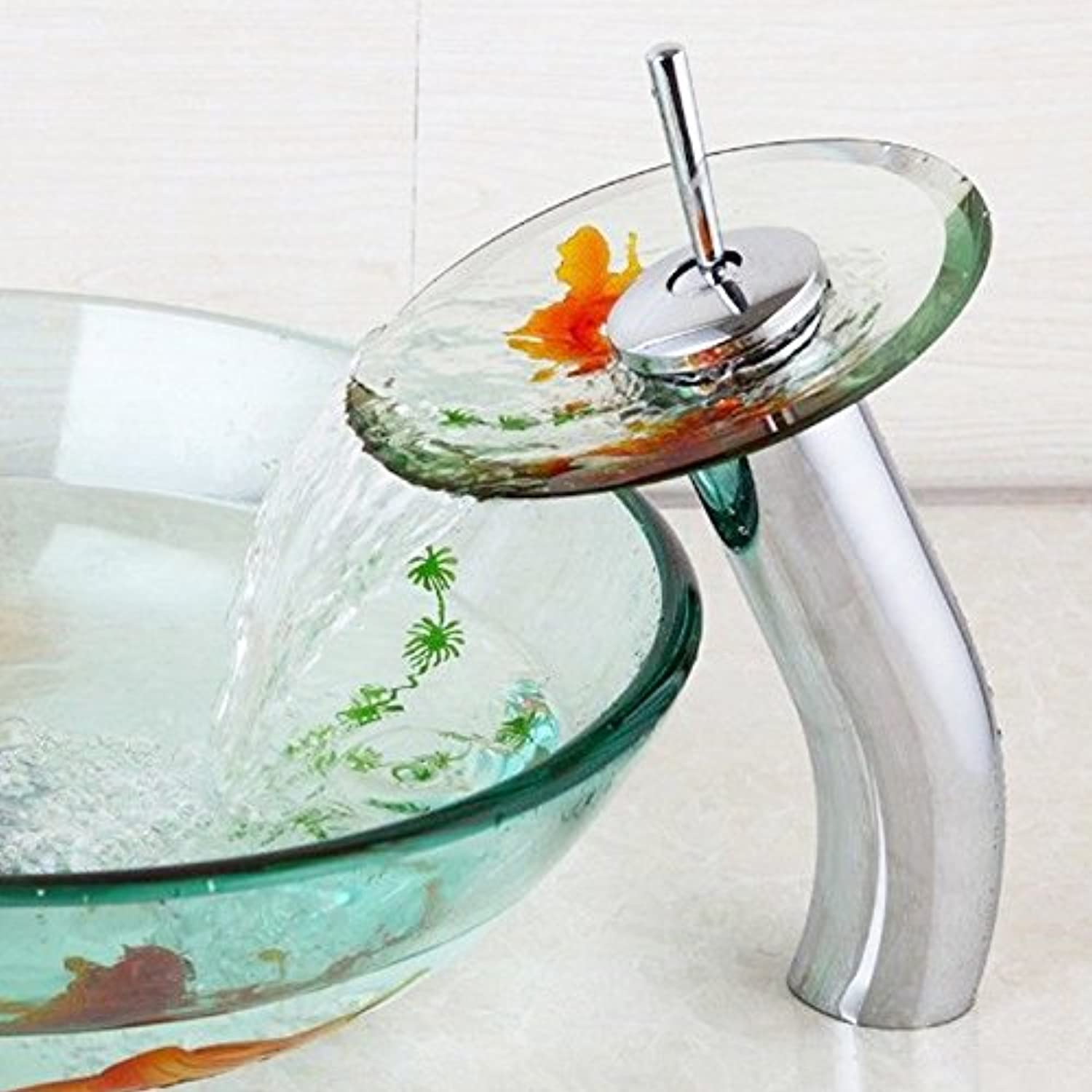 Makej Water Tap goldfish Design Chrome Brass Transparent Tempered Glass Waterfall Faucet Glass Bathroom Sink Tap Mixer Tap