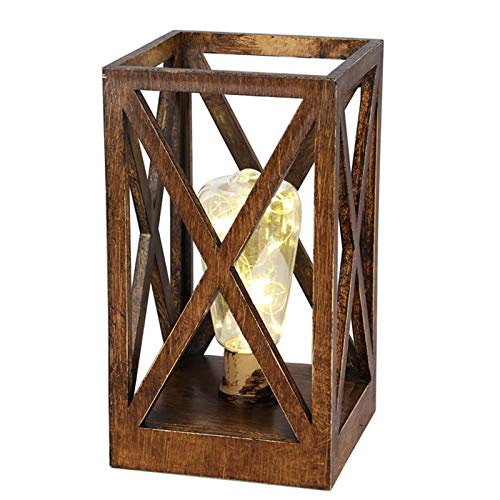Geometric Square Cage Lamp Retro Style Table Lamp Battery-Powered Cordless Lamp Lantern Night Light with Bulbs for Dining Room Bedroom Patio Indoors Outdoors Table Lighting Decoration (Gold-A)