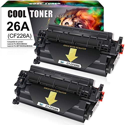 Cool Toner Compatible Toner Cartridge Replacement for HP 26A CF226A 26X CF226X Laserjet Pro M402n M402dn M402dw M402 Laserjet Pro MFP M426fdw M426fdn M426dw M402d 402n M426 Printer Ink (Black 2-Pack)