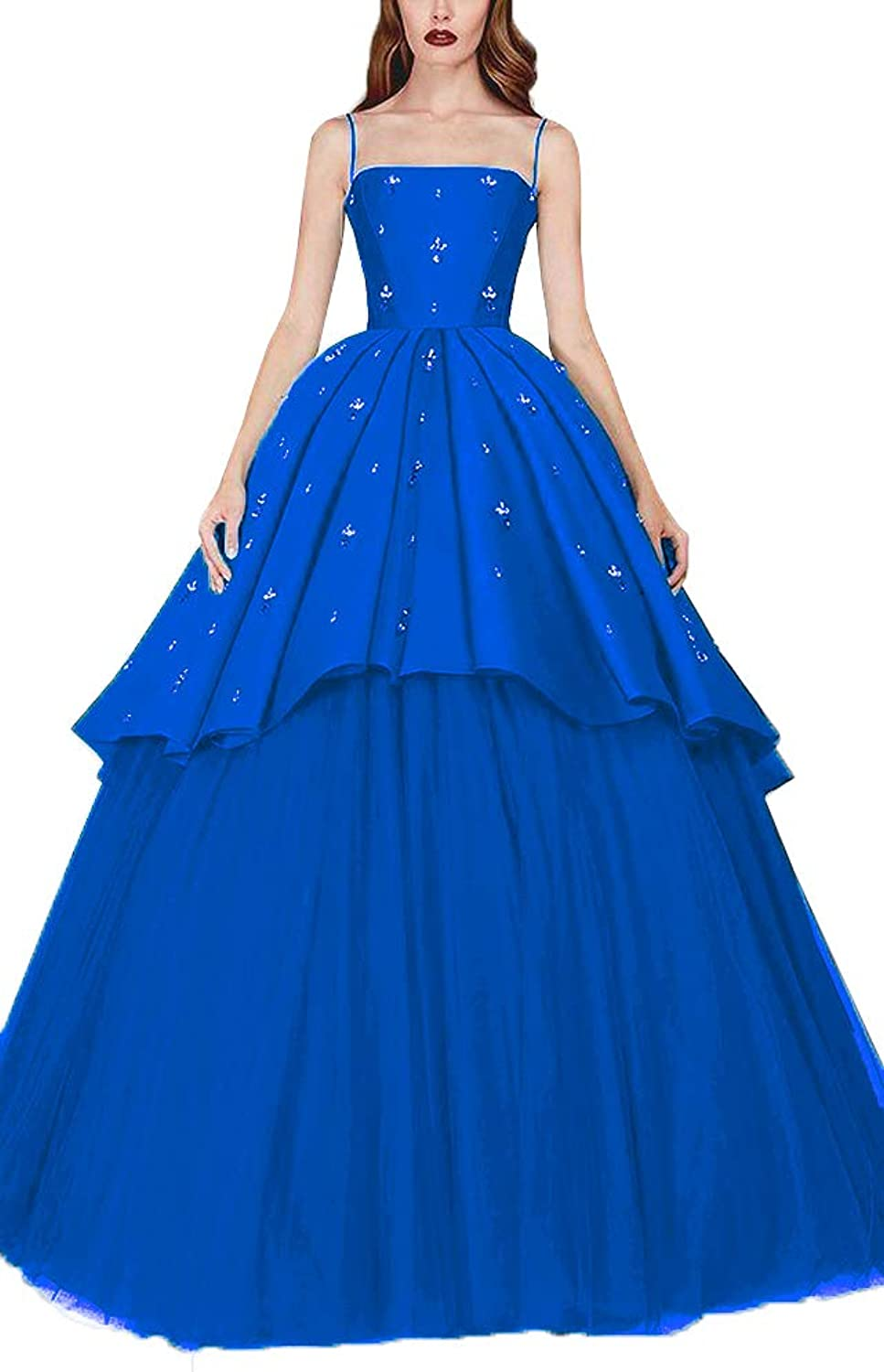 EileenDor Women's Sexy Spaghetti Strap Beaded Crystal High Low Quinceanera Dresses Ball Gown Satin Tulle Prom Gowns