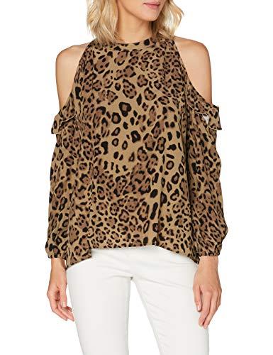 True Religion Damen Off Shoulder Blouse Bluse, Caramel Leo Big, XL