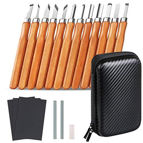 Flintronic 19Pcs Kit di Strumenti per Intaglio del Legno, Professionali Sgorbie per Legno con Whetstone e Borsa Portaoggetti, Scalpello set, Coltello da Intaglio a Mano per Manico Scultura Intaglio