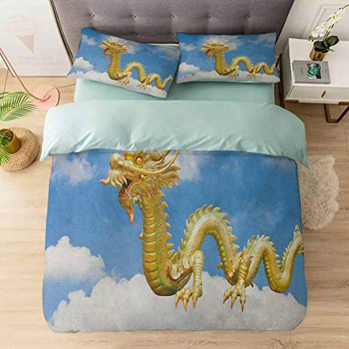 Aishare Store Bedding Duvet Cover Set, Traditional Chinese Dragon Hovering at Cloud Sky Cultural Symbolism Prin, Soft Lightweight Microfiber 1 Duvet Cover and 2 Pillowcases, Gold Pale Blue White