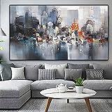 Cartel de barco de lluvia de edificio de la ciudad imágenes de paisaje decoración de habitación pintura al óleo abstracta sobre lienzo arte de pared para sala de estar 50x100 CM (sin marco)