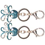 Llavero, decoración de bolso, colgante en forma de pulpo, regalo, llavero de aleación de zinc, vacaciones de(Blue+blue)