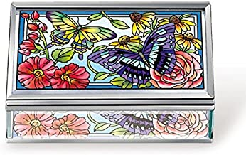 Amia Butterfly and Floral Glass Jewelry Box, Multicolored