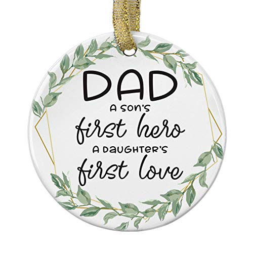 """Julius Thomson Personalized Christmas Ornaments for DAD, A Son's First Hero A Daughter's First Love 3"""" Ornament with Ribbon, for DAD"""