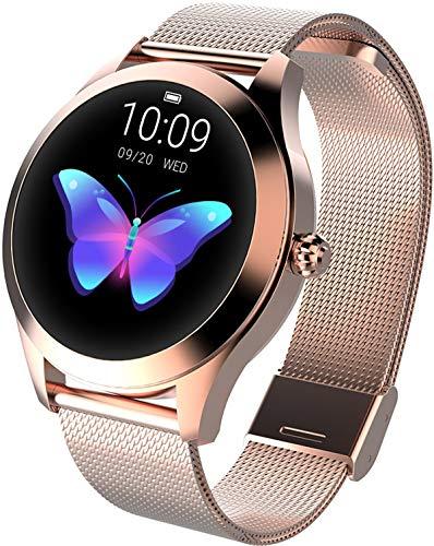 Smartwatch Rosegold Damen Rund Fitness Armband Elegant Aktivitätstracker IP68 Wasserdicht Schrittzähler Schlaftracker Kalorienverbrauch