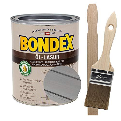 Bondex Öllasur Metallic grau 1 x 0,75 l premium Holzlasur aus natürlichen Ölen inkl. Pinsel und Rührholz der Langzeitschutz für Holz im Aussenbereich