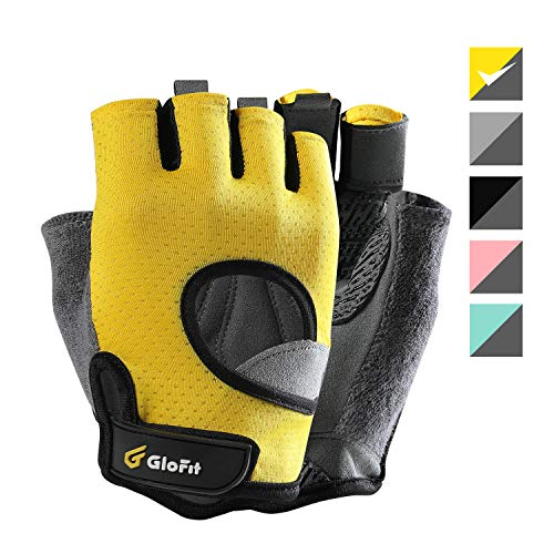 Glofit Freedom Workout Gloves, Knuckle Weight Lifting Shorty Fingerless Gloves with Curved Open Back, for Powerlifting, Gym, Riding, Women and Men (Yellow, Large)