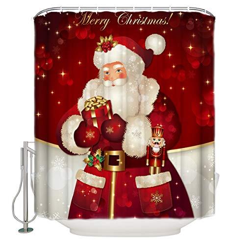 Libaoge - Juego de cortinas de ducha con diseño de renos y copos de nieve, impermeable, tela de poliéster con diseño ergonómico, 91,4 x 182,9 cm