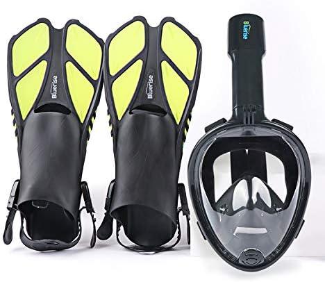 BLUERISE Snorkel Set Antifog Adult Full Face Diving Mask with Adjustable Swim Fins Anti Leak product image