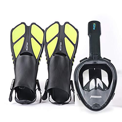 BLUERISE Snorkel Set Antifog Adult Full Face Diving Mask with Adjustable Swim Fins AntiLeak Snorkeling Scuba Gear Snorkel Mask for Kids Diving Fins