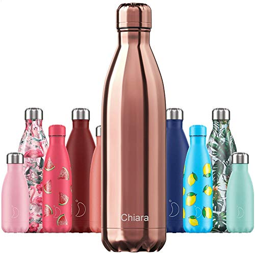 Chillys Isolierflasche MIT Gravur (z.B. Namen) Chrome Roségold 750 ml, hält bis zu 12 Std heiß / 24 Std kalt, auslaufsicher, kohlensäuredicht, Thermo-Flasche Trinkflasche Bottle