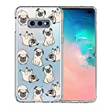 Galaxy S10e Case, Unov Clear with Design Soft TPU Shock Absorption Slim Embossed Pattern Protective Back Cover for Samsung Galaxy S10e 5.8in (Pug Dog)