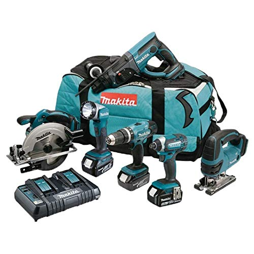 Makita DLX6068PT 18V Li-ion LXT 6 Piece Combo Kit complete with 3 x 5.0 Ah Li-ion Batteries and Charger supplied in a Heavy Duty Tool Carry Bag
