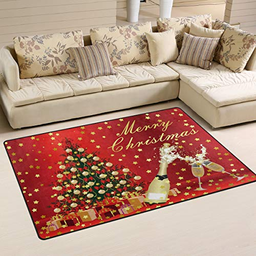 Use7 Merry Christmas Santa Claus Tree Snowflake Area Rug Rugs Carpet for Living Room Bedroom 100 x 150 cm(3 x 5 feet)