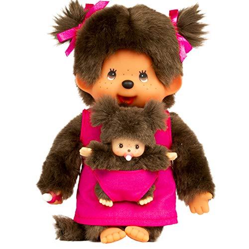 Bandai - Monchhichi - peluche - Maman & bébé rose 20 cm - 23620