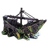 Resina artificial Adorno de acuario Acuarios Naufragio Adorno de barco de pesca Acuario Decoración de barco artificial Adorno de pecera Decoración de paisajismo
