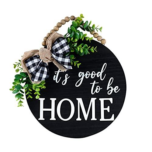 Qmpro, cartello di benvenuto per porta d'ingresso, decorazione per portico, decorazione in legno con foglie artificiali e perline rustiche, 30,5 x 30,5 cm, colore: nero