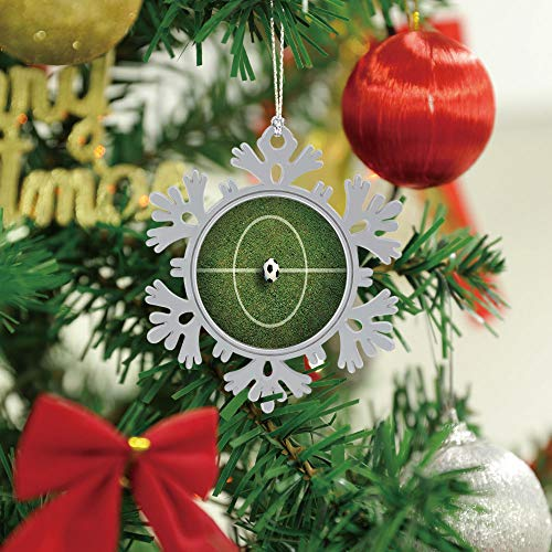 SUPNON Christmas Hanging Snowflake Ornament - Soccer Football Field Stadium Grass Line - Cute Xmas Tree Hanging Decoration - Circle Ceramic Holiday Family & Friends Gift SW13022,1 PCS