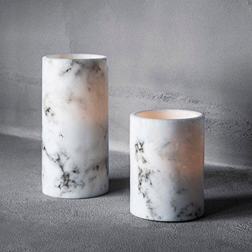 Lights4fun 2er Set Marmor LED Echtwachs Kerzen Timer warmweiß batteriebetrieben