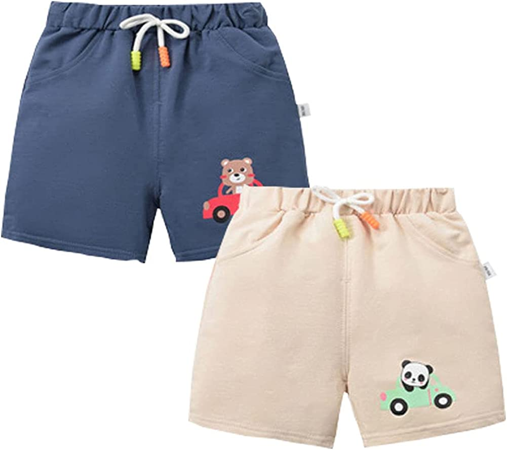 BeiVSlley Toddler Baby Boys Girls 3 Pack Infant Soft Casual Summer Cute Prints Shorts