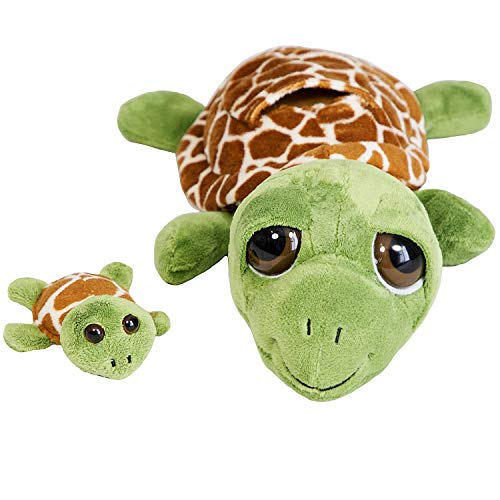 The Petting Zoo Mom and Baby Sea Turtle Stuffed Animal  Gifts for Kids  Pocketz Ocean Animals  Sea Turtle Plush Toy 10 inches