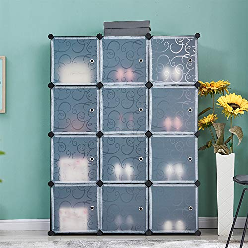 Ansley&HosHo Black Storage Shelves Storage Cabinet Home Storage Organize Unit 12 Cubes DIY Kids Toys Organizer Bedroom Clothes Organizer Wardrobe Closet Portable Easy Assembly 110 * 37*H146cm
