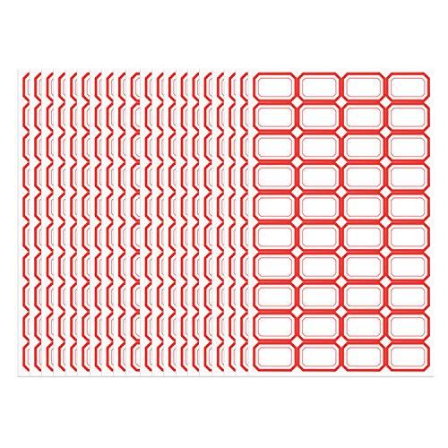 LERANXIN 800 Etiquetas Adhesivas Rojas, Etiquetas Engomadas de la Dirección, Pegatinas de Espejo de Rectángulo, Etiquetas de Alta Viscosidad