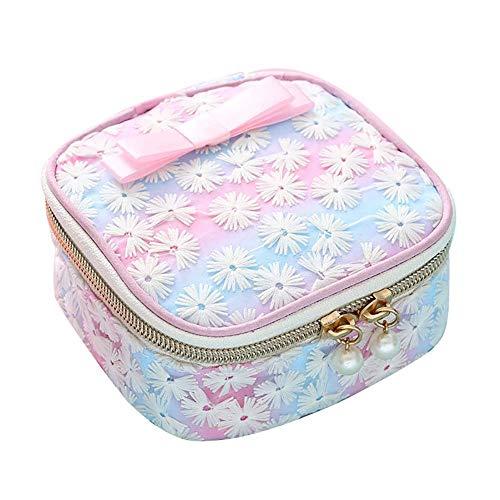 Yagoal Kabelaufbewahrungsclips Picknickbox Roller Screen Federtasche Retro Canvas-Geldbörse wasserdichte Digitale Aufbewahrungstasche Oxford-Stofftasche Gradient pink