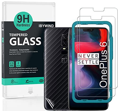 Ibywind ProtectordePantalla para OnePlus 6 [2 Piezas],con Atrás Pegatina Protectora Fibra de Carbono,Incluyendo Kit de instalación fácil