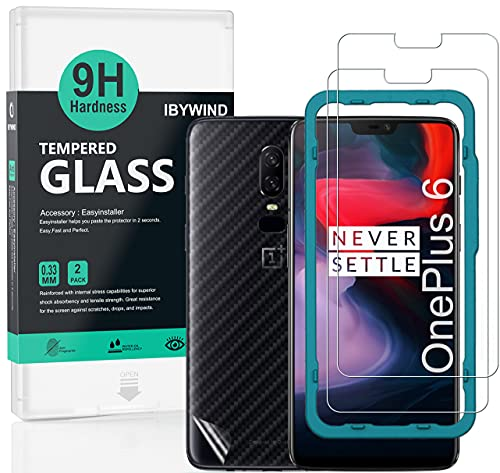Ibywind Screen Protector for OnePlus 6 [Pack of 2] 9H Tempered Glass Protector with Back Carbon Fiber Skin Protector,Including Easy Install Kit