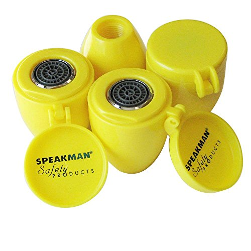 Speakman RPG38-0379 Set of 4 Emergency Eyewash Stations Aerated Spray Head Assembly For SE-580/582's (4 each), Yellow