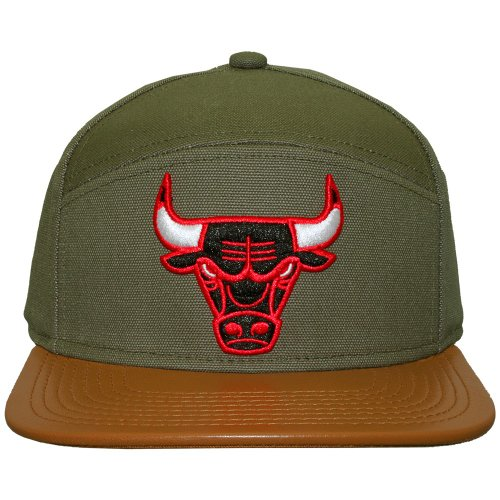 Mitchell And Ness - Casquette 6 Panel Hybrid Homme Chicago Bulls Canvas Horizon - Green/Brown
