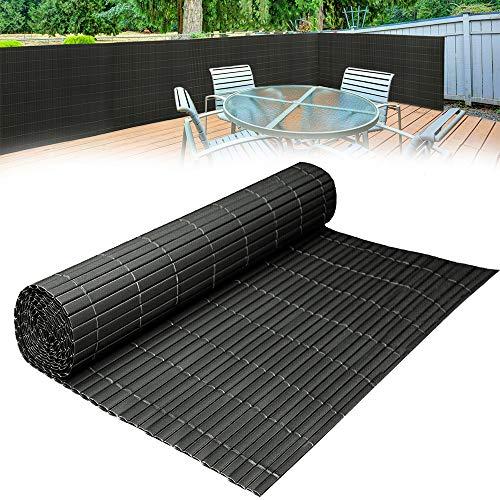 HENGMEI 500x90cm PVC Sichtschutzmatte Sichtschutzzaun Anthrazit - Zaun Sichtschutz Windschutz Blickdicht fur Garten, Balkon und Terrasse (500x90cm, Anthrazit)