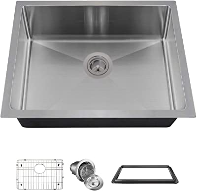 MR Direct ADA1823-SLBL-ENS Kitchen Sink with Accessories SinkLink 18 Gauge Single Bowl, Stainless Steel/Black