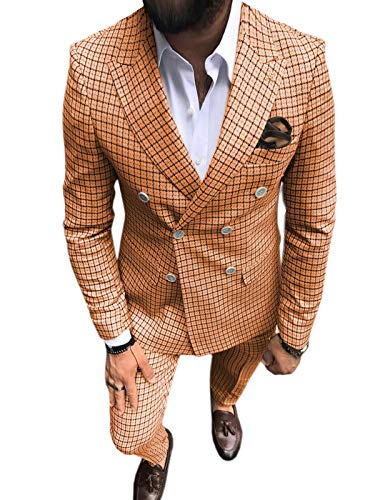 Men's Suit Slim Fit Separate 2 Pieces Double-Breasted Prom Tuxedo Plaid Wedding Grooms(Salmon,42)