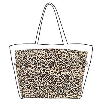 Lrker Women s Purse Organizer Handbag Tote Insert Liner Divider Inside Bag Medium Leopard-print
