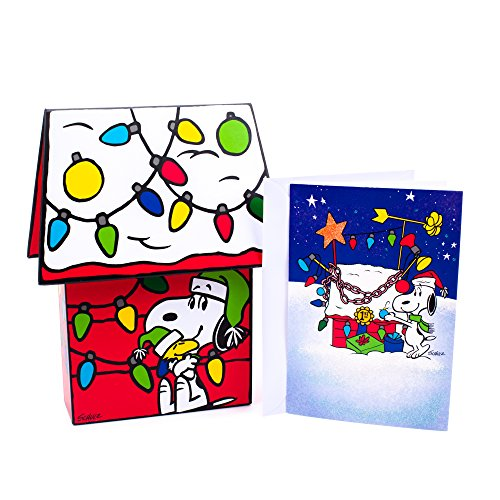 Hallmark Peanuts Boxed Christmas Cards, Snoopy Dog House (16 Cards with Envelopes)
