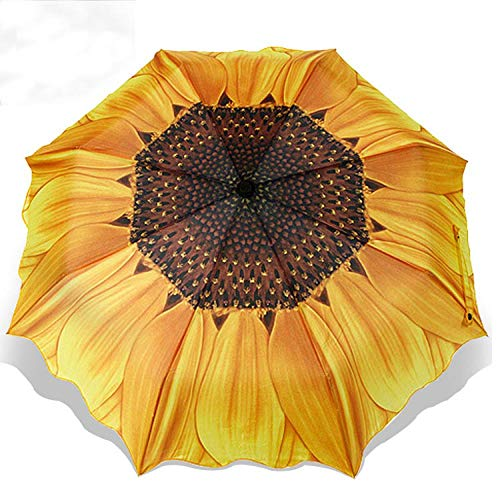 Parasol Parapluie Parapluie Pliant À Fleurs 3D pour Femmes Parapluies Anti-Pluie UV Protection Contre Les Pluies Parasol Parasol Jaune